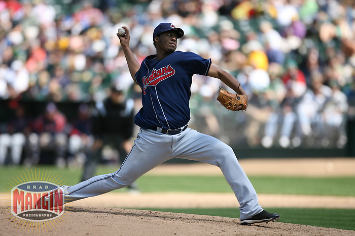 OAKLAND, CA - May 12:  Fausto Carmona of the Cleveland Indians pitches during the game against the Oakland Athletics at the McAfee Coliseum in Oakland, California on May 12, 2007.  The Indians defeated the Athletics 6-3.  Photo by Brad Mangin
