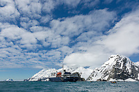 M/V Orteleus waits offshore of Elephant Island in the Southern Ocean