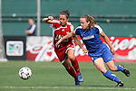 22 June 2008: Richmond's Dunia Susi (l) and Washington's Christen Karniski (4) challenge for the ball. The Washington Freedom defeated the Richmond Kickers Destiny 5-0 at RFK Stadium in Washington, DC in a United Soccer Leagues W-League friendly.