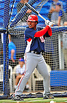 7 March 2009: Washington Nationals' infielder Anderson Hernandez takes batting practice prior to a Spring Training game against the New York Mets at Tradition Field in Port St. Lucie, Florida. The Nationals defeated the Mets 7-5 in the Grapefruit League matchup. Mandatory Photo Credit: Ed Wolfstein Photo