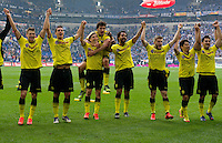 FUSSBALL   1. BUNDESLIGA   SAISON 2011/2012   31. SPIELTAG FC Schalke 04 - Borussia Dortmund                      14.04.2012 Lukasz Piszczek, Sebastian Kehl, Marcel Schmelzer, Mats Hummels, Patrick Owomoyela, Jakub  KUBA Blaszczykowski, Shinji Kagawa und Ilkay Guendogan (v.l., alle Borussia Dortmund) jubeln nach dem Abpfiff.