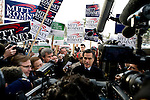 Former Massachusetts governor and Republican presidential hopeful Mitt Romney speaks to the media at a polling station in Nashua, N.H., on Tuesday, Jan. 8, 2008.