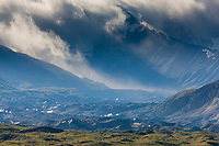 Stormy clouds over the Alaska range mountains and the Muldrow glacier moraine in Denali National Park, interior, Alaska.