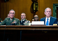 United States Secretary of Defense James N. Mattis, right, and the Chairman of the Joint Chiefs of Staff, US Marine Corps General Joseph F. Dunford, Jr., left, testify at a US Senate Committee on Appropriations Subcommittee on Defense hearing entitled &quot;A Review of the Budget &amp; Readiness of the Department of Defense&quot; on Capitol Hill in Washington, DC on Wednesday, March 22, 2017.<br /> Credit: Ron Sachs / CNP /MediaPunch