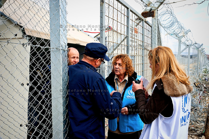 Alessandra Morelli,Senior Operations Coordinator in Greece for United Nations High Commissioner for Refugees on the border with Macedonia during a meeting with the Macedonian border police 8 Febraury 2016.<br /> Hundreds of refugees arrive at Idomeni and cross the border between Greece and Macedonian on their journey to North Europe.