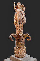 The Column of the Dancers (330 B.C.) in Delphi museum, Greece