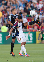 Santa Clara, California - Saturday July 14, 2012: Real Salt Lake's Javier Morales and San Jose Earthquakes' Jason Hernandez in action during a game at Buck Shaw Stadium, Stanford, Ca     San Jose Earthquakes defeated Real Salt Lake 5 - 0.