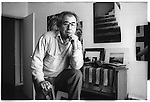 Jean Baudrillard (1929-2007), writer / philosopher photographed at home. Paris. 1984. Tri-X