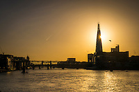Sunrise over The Shard and  River Thames this morning - 27 Oct 2014.