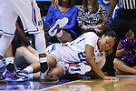 20 March 2015: Duke's Kendall Cooper (21) and Albany's Imani Tate (behind) get tangled up going for a loose ball. The Duke University Blue Devils hosted the University at Albany Great Danes at Cameron Indoor Stadium in Durham, North Carolina in a 2014-15 NCAA Division I Women's Basketball Tournament first round game.