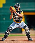 8 July 2012: State College Spikes catcher Dave Valesente warms up prior to a game against the Vermont Lake Monsters at Centennial Field in Burlington, Vermont. The Lake Monsters rallied from a 2-0 late inning deficit, to defeat the Spikes 8-2 in NY Penn League action. Mandatory Credit: Ed Wolfstein Photo