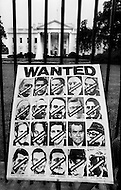 Washington DC. August 9th, 1974.<br /> A poster in front of the white house gate. A break in at the Democratic National Committee headquarters at the Watergate complex on June 17, 1972 results in one of the biggest political scandals the US government has ever seen. Effects of the scandal ultimately led to the resignation of  President Richard Nixon, on August 9th, 1974, the first and only resignation of any U.S. President.