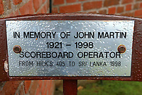 Bench dedicated to the memory of Scoreboard Operator John Martin during Somerset CCC vs Essex CCC, Specsavers County Championship Division 1 Cricket at The Cooper Associates County Ground on 15th April 2017