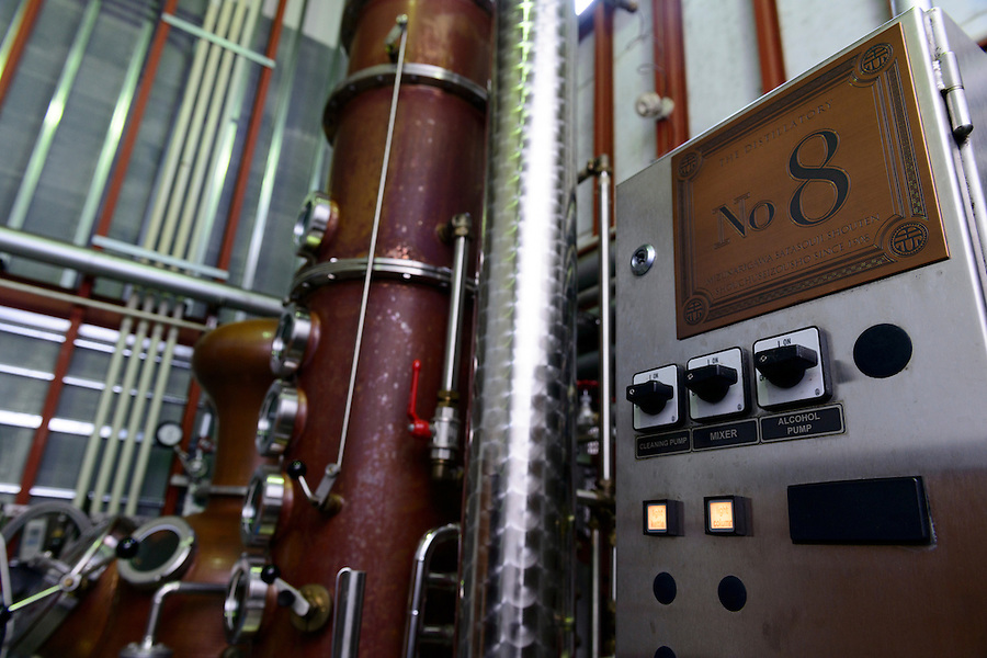 Part of a brandy still. Sata Souji Shoten Shochu Distillery, Minami Kyushu, Kagoshima Pref, Japan, December 21, 2016. The Sata Souji Shoten Shochu Distillery makes shochu spirits from local sweet potatoes. In recent years the distillery has imported grappa, brandy, calvados stills from Europe to experiment with new distilling techniques. They have attracted considerable attention from the media and other distillers as leading innovators in their industry.