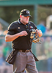 4 September 2016: MiLB Umpire James Folske works home plate during a game between the Lowell Spinners and the Vermont Lake Monsters at Centennial Field in Burlington, Vermont. The Spinners defeated the Lake Monsters 8-3 in NY Penn League action. Mandatory Credit: Ed Wolfstein Photo *** RAW (NEF) Image File Available ***