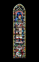 Aaron and his persecutor the Pharaoh, falling into the Red Sea, lancet window, North Rose window, circa 1230, Chartres Cathedral, Eure et Loir, France. Picture by Manuel Cohen