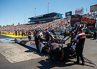 Mar 19, 2017; Gainesville , FL, USA; Crew members with NHRA top fuel driver Steve Torrence during the Gatornationals at Gainesville Raceway. Mandatory Credit: Mark J. Rebilas-USA TODAY Sports