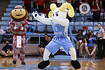 23 March 2015: UNC mascot Rameses and Ohio State mascot Brutus engage in a dance-off during a timeout. The University of North Carolina Tar Heels hosted the Ohio State University Buckeyes at Carmichael Arena in Chapel Hill, North Carolina in a 2014-15 NCAA Division I Women's Basketball Tournament second round game. UNC won the game 86-84.