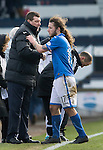 Raith Rovers v St Johnstone....08.03.14    Scottish Cup Quarter Final<br /> Tommy Wright congratulates Stevie May as he is subbed<br /> Picture by Graeme Hart.<br /> Copyright Perthshire Picture Agency<br /> Tel: 01738 623350  Mobile: 07990 594431