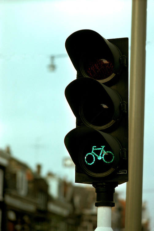 Netherlands: Biking: Traffic light for bikes.  Photo: dubike102.Photo copyright Lee Foster, 510/549-2202, lee@fostertravel.com, www.fostertravel.com