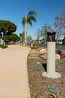 A light post frames a view along the Harbor Boulevard Cornerstone Bike Trail in Costa Mesa, California under a clear blue sky.  A number of small succulent landscaping plants and rocks can be seen. The landscape architecture work on the project was done by David Volz Design.
