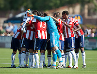 Santa Clara, California - Sunday May 13th, 2012: Chivas USA teammates huddle before start of a Major League Soccer match against San Jose Earthquakes at Buck Shaw Stadium