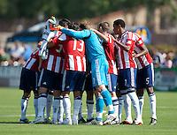 Santa Clara, California - Sunday May 13th, 2012: Chivas USA teammates huddle before start of a Major League Soccer match against San Jose Earthquakes at Buck Shaw Stadium