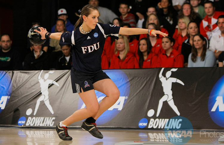 10 APR 2010:  Danielle McEwan of Fairleigh Dickinson University bowls during the Division I Women's Bowling Championship held at the Brunswick Zone Carolier Lanes in North Brunswick, NJ.  Fairleigh Dickinson University defeated the University of Nebraska 4-3 to win the national title.  John Munson/NCAA Photos