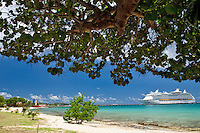 Cruise ship on the dock in Fredericksted<br /> St. Croix, US Virgin Islands