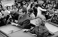 """October 23, 1972 - Westchester, New York, United States:  Richard Milhous Nixon and his wife, Thelma Catherine """"Pat"""" Ryan Nixon, on the campaign trail in Nassau country New York. (JP Laffont / Polaris)"""