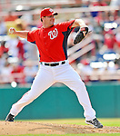 10 March 2012: Washington Nationals' pitcher Jeff Fulchino on the mound against the New York Mets at Space Coast Stadium in Viera, Florida. The Nationals defeated the Mets 8-2 in Grapefruit League play. Mandatory Credit: Ed Wolfstein Photo