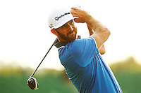 Dustin Johnson tees off on the 10th hole during the 2016 U.S. Open in Oakmont, Pennsylvania on June 18, 2016. (Photo by Jared Wickerham / DKPS)