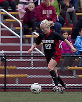 NC State midfielder/forward Stephanie Bronson (27) dribbles down the wing. Boston College defeated North Carolina State,1-0, on Newton Campus Field, on October 23, 2011.