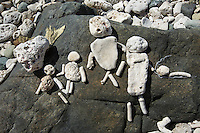 Rock sculptures found at Drunk Bay<br /> St. John<br /> US Virgin Islands
