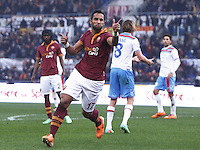 ROMA, Italy: December 22, 2013: As Roma beats Catania 4-0 during the Serie A match played in the Olimpico Stadium. In the photo Mehdi Benatia celebrating the goal scored of 3-0