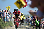 Jasper Stuyven (BEL) Trek-Segafredo and Daniel Oss (ITA) BMC Racing Team on pave sector 14 Beuvry to Orchies during the 115th edition of the Paris-Roubaix 2017 race running 257km Compiegne to Roubaix, France. 9th April 2017.<br /> Picture: ASO/P.Ballet | Cyclefile<br /> <br /> <br /> All photos usage must carry mandatory copyright credit (&copy; Cyclefile | ASO/P.Ballet)