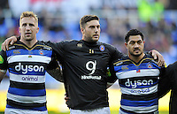 Dom Day, Matt Banahan and Alafoti Fa'osiliva of Bath Rugby line up prior to the match. Aviva Premiership match, between London Irish and Bath Rugby on November 7, 2015 at the Madejski Stadium in Reading, England. Photo by: Patrick Khachfe / Onside Images