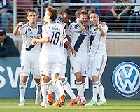 Stanford, California - Saturday June 30, 2012: Robbie Keane, David Beckham and teammates celebrate David Beckham's free kick goal during a game at Stanford Stadium, Stanford, Ca.San Jose Earthquakes defeated Los Angeles Galaxy,  4 to 3
