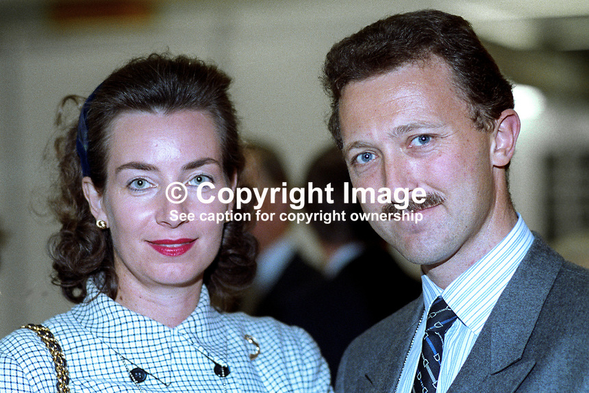 Andrew Hargreaves, MP, Conservative Party, UK, politician, with wife at annual conference, 1992. 19921065AH+W..Copyright Image from Victor Patterson, 54 Dorchester Park, Belfast, UK, BT9 6RJ..Tel: +44 28 9066 1296.Mob: +44 7802 353836.Voicemail +44 20 8816 7153.Skype: victorpattersonbelfast.Email: victorpatterson@me.com.Email: victorpatterson@ireland.com (back-up)..IMPORTANT: If you wish to use this image or any other of my images please go to www.victorpatterson.com and click on the Terms & Conditions. Then contact me by email or phone with the reference number(s) of the image(s) concerned.