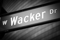 Chicago Wacker Drive street sign in black and white.
