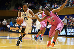 04 February 2016: Duke's Kyra Lambert (15) and Virginia's Breyana Mason (12). The Duke University Blue Devils hosted the University of Virginia Cavaliers at Cameron Indoor Stadium in Durham, North Carolina in a 2015-16 NCAA Division I Women's Basketball game. Both teams wore pink as part of the annual Play4Kay game in support of the Kay Yow Cancer Fund. Duke won the game 67-52.