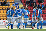 St Johnstone v Hearts&hellip;17.09.16.. McDiarmid Park  SPFL<br />The players celebrates Graham Cummins goal by holding up Dave Mackay&rsquo;s shirt<br />Picture by Graeme Hart.<br />Copyright Perthshire Picture Agency<br />Tel: 01738 623350  Mobile: 07990 594431
