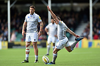 George Ford of Bath Rugby kicks for the posts. Aviva Premiership match, between Worcester Warriors and Bath Rugby on April 15, 2017 at Sixways Stadium in Worcester, England. Photo by: Patrick Khachfe / Onside Images