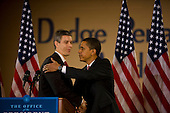 Chicago, Il - December 16, 2008 -- United States President-elect Barack Obama, right, announces the nomination of Chicago School Chief Arne Duncan, left, to be his Secretary of Education at a news conference at Dodge Renaissance Academy on Chicago's West Side on Tuesday, December 16, 2008..Credit: Ralf-Finn Hestoft - Pool via CNP