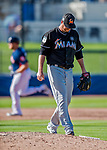 1 March 2017: Miami Marlins pitcher Scott Copeland steps off the mound after surviving yo a solo home run to A.J. Reed in the 8th inning of Spring Training action against the Houston Astros at the Ballpark of the Palm Beaches in West Palm Beach, Florida. The Marlins defeated the Astros 9-5 in Grapefruit League play. Mandatory Credit: Ed Wolfstein Photo *** RAW (NEF) Image File Available ***