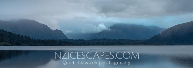 Dusk over Lake Mapourika, Westland Tai Poutini National Park, UNESCO World Heritage Area, West Coast, New Zealand, NZ