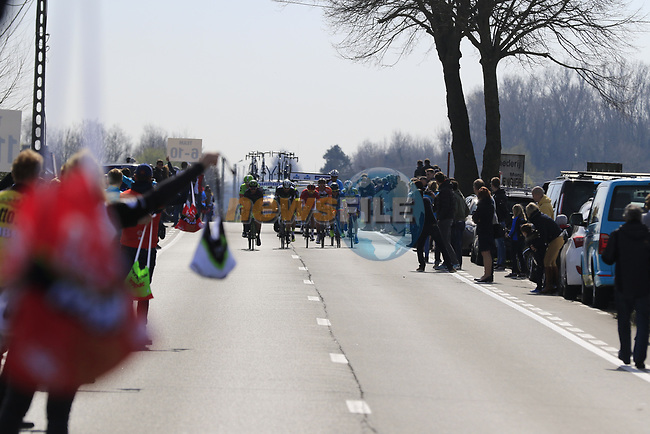 The breakaway approach the first feed zone at Steenkerke during Gent-Wevelgem in Flanders Fields 2017 running 249km from Denieze to Wevelgem, Flanders, Belgium. 26th March 2017.<br /> Picture: Eoin Clarke | Cyclefile<br /> <br /> <br /> All photos usage must carry mandatory copyright credit (&copy; Cyclefile | Eoin Clarke)
