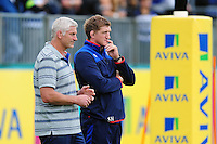 Bath Rugby Performance and Player Development Director Stuart Hooper with Director of Rugby Todd Blackadder. Aviva Premiership match, between Bath Rugby and Newcastle Falcons on September 10, 2016 at the Recreation Ground in Bath, England. Photo by: Patrick Khachfe / Onside Images
