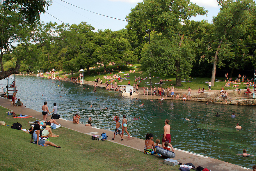 Diving Board Is A Favorite Year Round For Swimmers At Barton Springs Swimming Pool In Austin