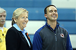 05 November 2014: UNC head coach Sylvia Hatchell (left) with Carson-Newman head coach Mike Mincey (right). The University of North Carolina Tar Heels hosted the Carson-Newman University Eagles at Carmichael Arena in Chapel Hill, North Carolina in an NCAA Women's Basketball exhibition game. UNC won the game 88-27.